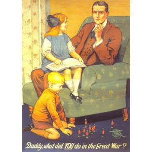 Daddy War WW1 Nostalgic Postcard