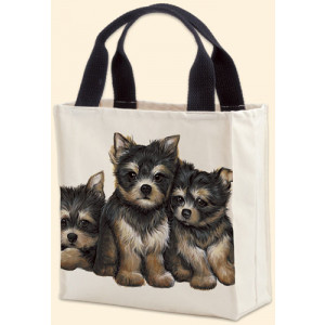 Canvas Tote Carry Shopper Bag Yorkshire Terrier Puppies Dogs