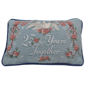 Tapestry Word Throw Pillow Cushion 25 Years Together Roses and Doves