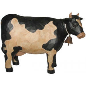 Black & White Cow With Bell Ornament