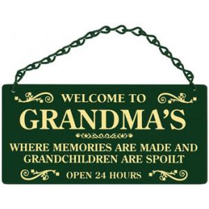 Welcome To Grandmas Home & Garden Sign