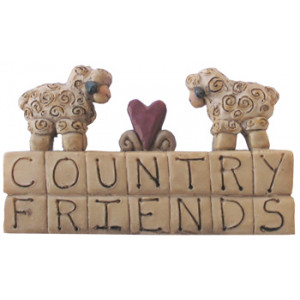 Country Friends & Sheep Resin Ornament
