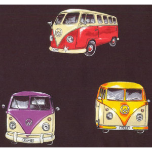 Kombi VW Vans On Tour Cars Black Quilt Fabric