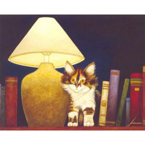 Cat on Book Shelf Lowell Herrero Card