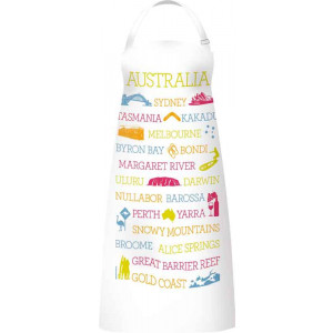 Kitchen Apron 100% Cotton Australian Cities Places Icons