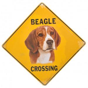 Beagle Dog Crossing Road Sign