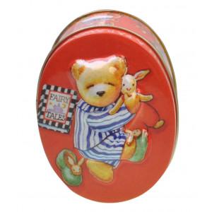 Embossed Decorative Storage Oval Tin Fairy Tales Teddy Bear