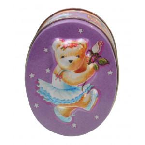 Embossed Decorative Storage Oval Tin Ballerina Teddy Bear