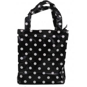 Black & White Polka Dot Oil Cloth Small Fashion Shopping Bag
