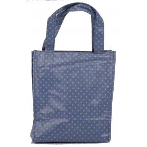 Blue Polka Dot Oil Cloth Small Fashion Shopping Bag