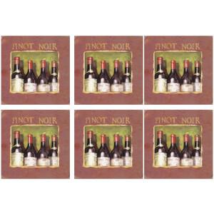 Set of 6 Cork Backed Coasters Wine Cellar