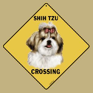 Shih Tzu Shihtzu Dog Crossing Road Sign
