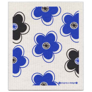 Blue Black Flowers Design Eco Friendly Kitchen Dishcloth