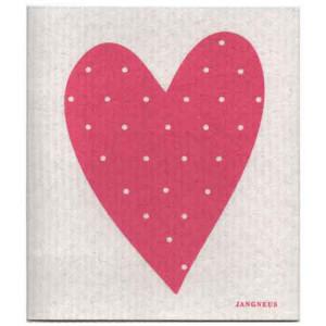 Pink Love Heart Design Eco Friendly Kitchen Dishcloth