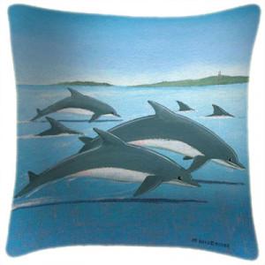 Dolphins Art Print Retro Cushion Martin Wiscombe