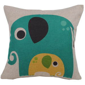 Elephant And Baby Design Square Cushion