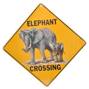 Elephant Crossing Road Sign