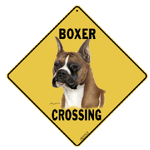 Boxer Dog Crossing Road Sign