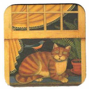 Ginger Tabby Cat & Bird Country Style Cork Backed Drink Coaster