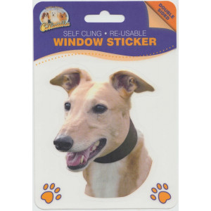 Greyhound Dog (Tan) Self Cling Re-usable Window Sticker