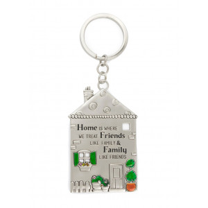 Home is Where We Treat Friends Like Family Pewter Keyring