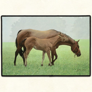 Horse and Foal in Field Rubber Backed Doormat