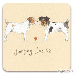 Jack Russell Dogs Cork Backed Drink Coaster By Alex Clark