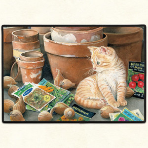 Ginger Kitten Garden Seed Packet and Pots Rubber Backed Doormat