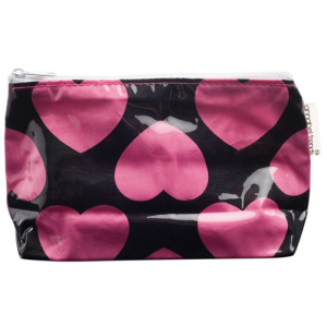 Pink Love Hearts Large Cosmetic Make Up Zip Bag