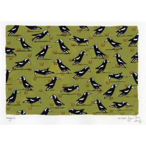 Magpies in Paddock Rachael Flynn Card