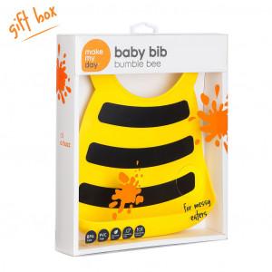Make My Day Bumble Bee Design Silicone Baby Bib