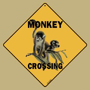 Monkey Crossing Road Sign