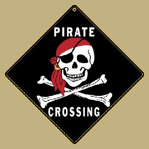 Pirate Skull and Cross Bones Crossing Road Sign