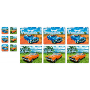 Ford GT Falcon & GTS Holden Monaro Set 6 Placemats & Coasters