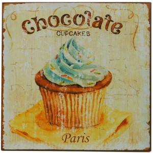 Chocolate Cupcakes Shabby Rustic Tin Sign