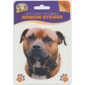 Staffordshire Bull Terrier Dog (Red) Self Cling Re-usable Window Sticker