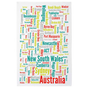 New South Wales City Town Suburb Names Kitchen Tea Towel 100% Cotton