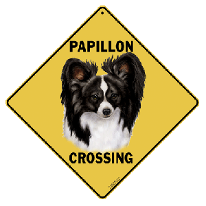 Papillon Dog Crossing Road Sign