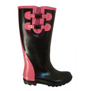 Black Gumboots With Pink Trim Ladies Wellies Gumboots