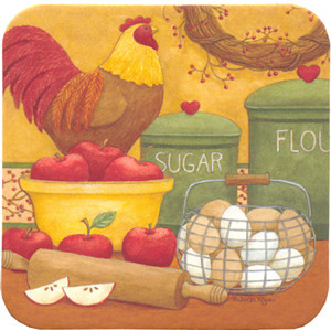 Chicken Eggs & Apples Country Style Cork Backed Drink Coaster