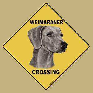 Weimaraner Dog Crossing Road Sign