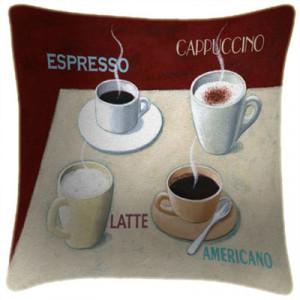 Coffee Espresso Art Print Retro Cushion Martin Wiscombe