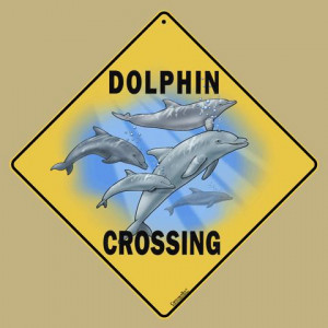 Dolphins Crossing Road Sign
