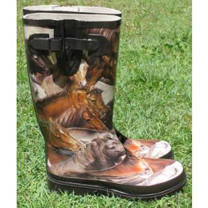 Brown Horses Gumboots Wellies Rainboots Size 6