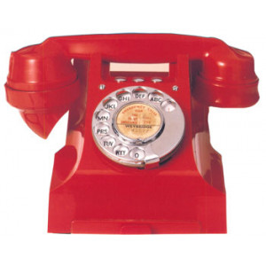 Red Desk Telephone 1950s Postcard