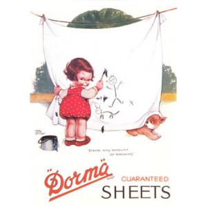 Dorma White Sheets Mabel Lucie Attwell Nostalgic Postcard
