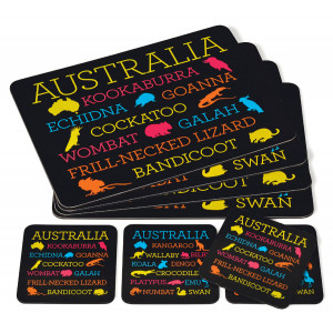 Australian Animals Design Set of 4 Cork Backed Placemats & Coasters