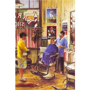 Gordon Hanley Inside Barber Shop Postcard