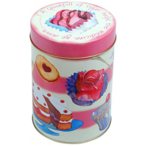 Tea Time Sugar Tin Cupcakes Gingerbread Canister
