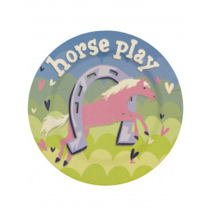 Little Blue House Horse Play Show Horse Kids Bamboo Plate